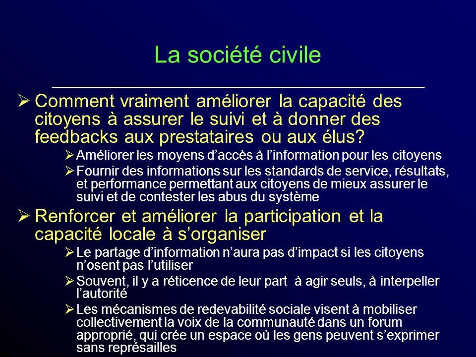 La société civile Comment vraiment améliorer la capacité des citoyens à assurer le suivi et à donner des feedbacks aux prestataires ou aux élus