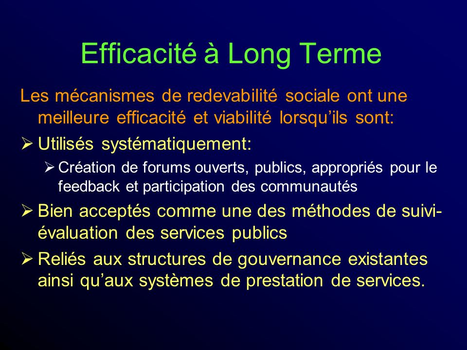 Efficacité à Long Terme