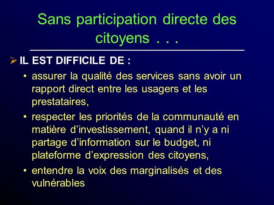 Sans participation directe des citoyens . . .