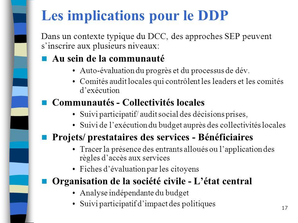 Les implications pour le DDP