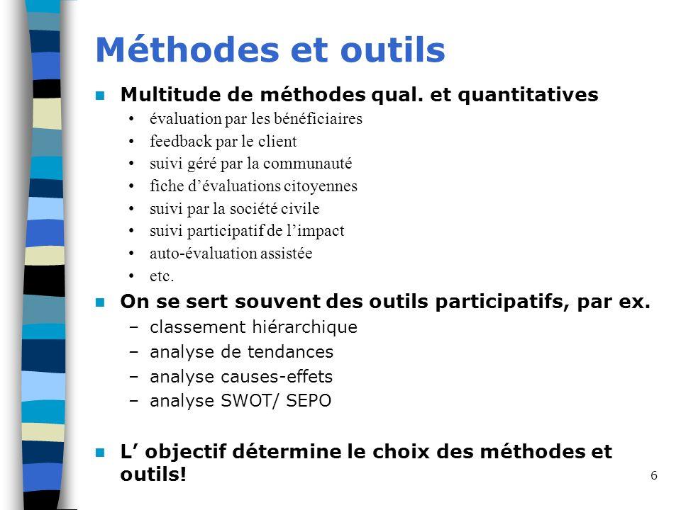 Méthodes et outils Multitude de méthodes qual. et quantitatives