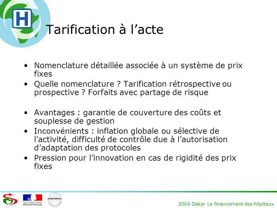 Tarification à l'acte Nomenclature détaillée associée à un système de prix fixes.