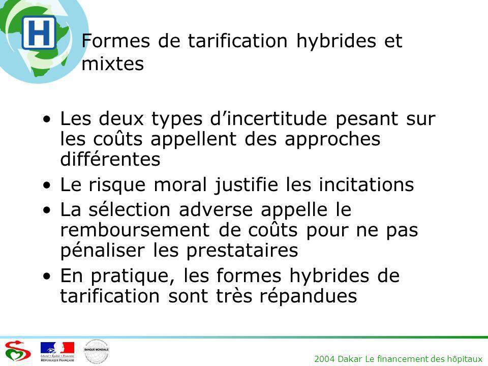 Formes de tarification hybrides et mixtes