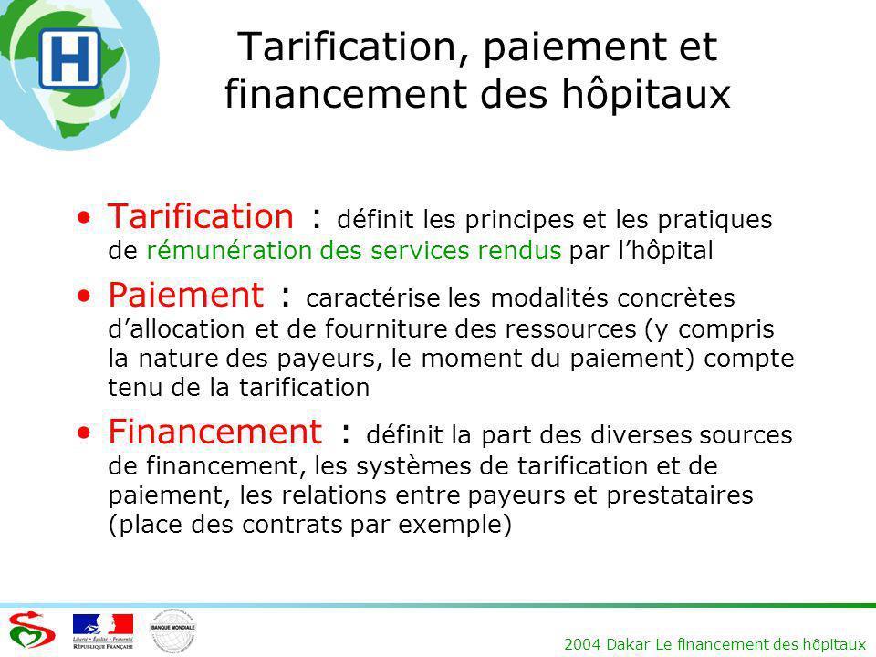 Tarification, paiement et financement des hôpitaux