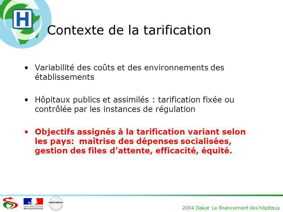 Contexte de la tarification