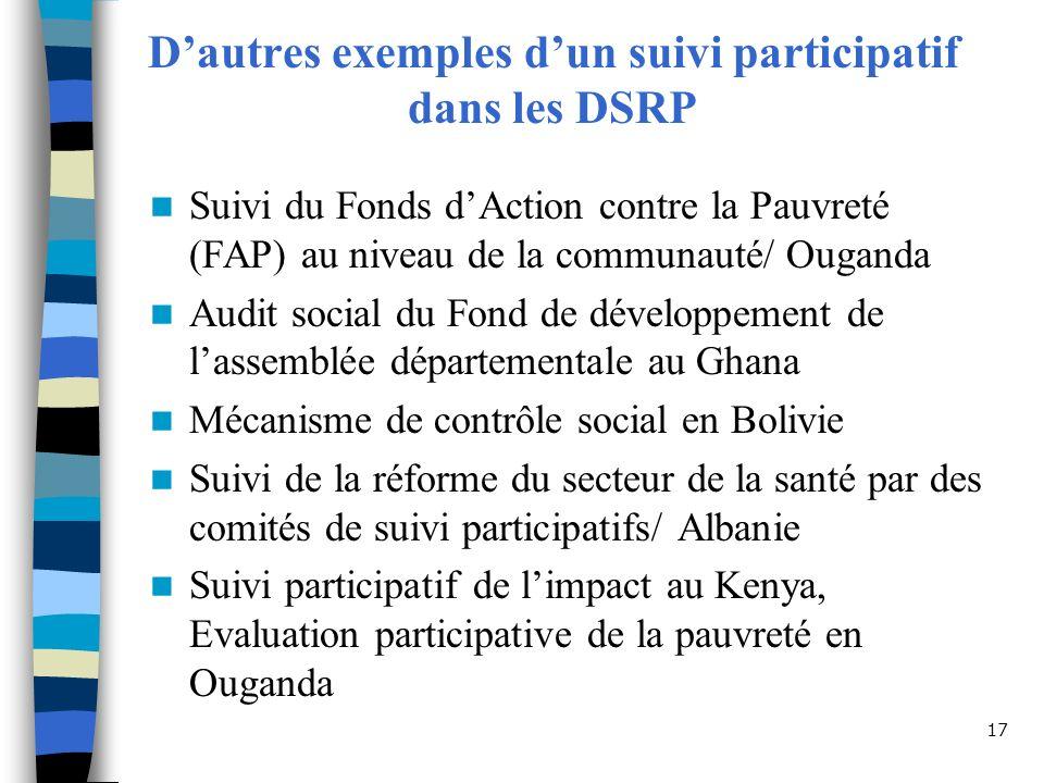 D'autres exemples d'un suivi participatif dans les DSRP