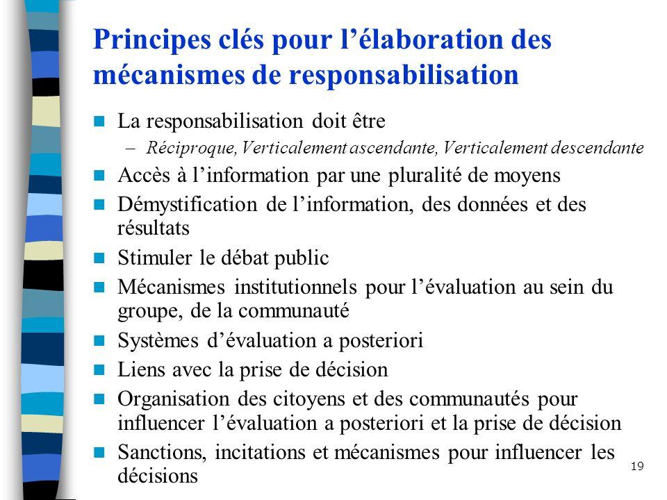Principes clés pour l'élaboration des mécanismes de responsabilisation