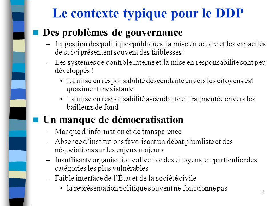 Le contexte typique pour le DDP