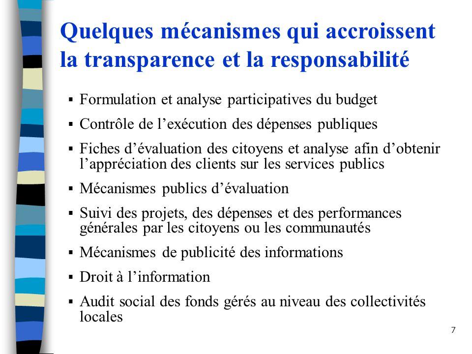 Quelques mécanismes qui accroissent la transparence et la responsabilité