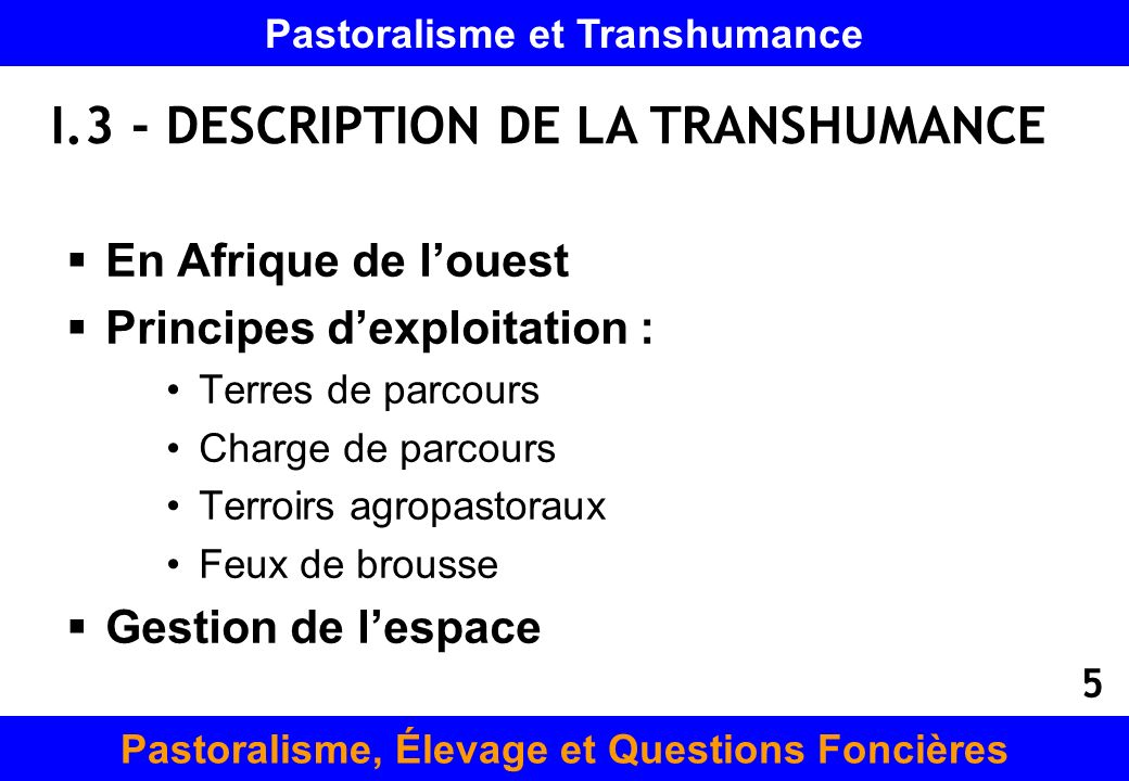 I.3 - DESCRIPTION DE LA TRANSHUMANCE