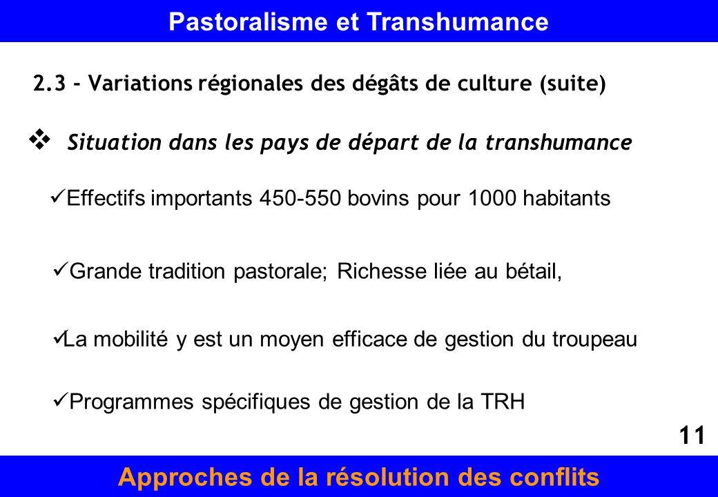 2.3 - Variations régionales des dégâts de culture (suite)
