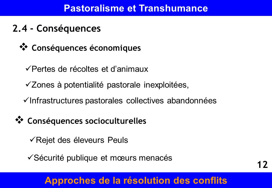 Pastoralisme et Transhumance Approches de la résolution des conflits