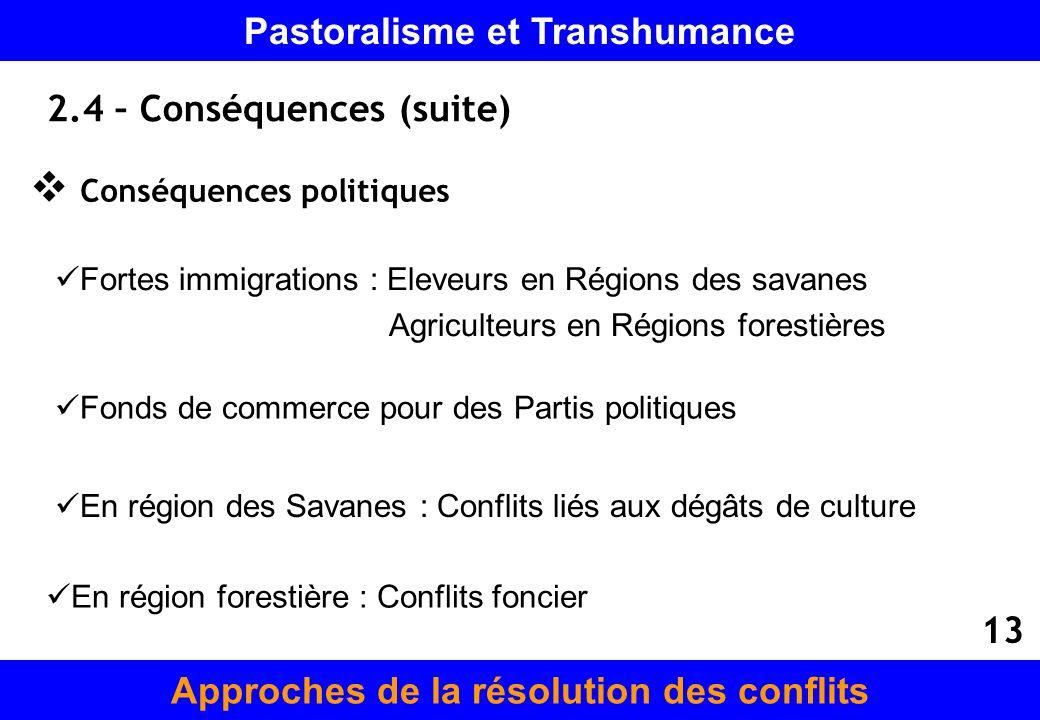 2.4 – Conséquences (suite)