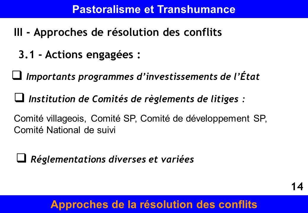 III - Approches de résolution des conflits