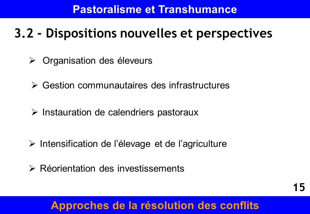 3.2 - Dispositions nouvelles et perspectives