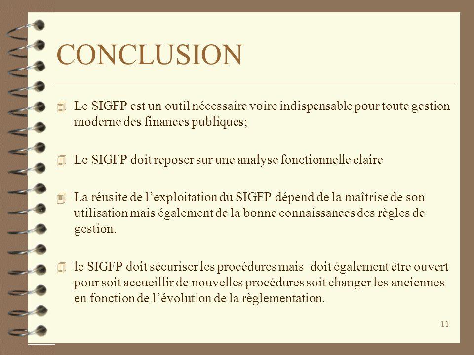 CONCLUSION Le SIGFP est un outil nécessaire voire indispensable pour toute gestion moderne des finances publiques;