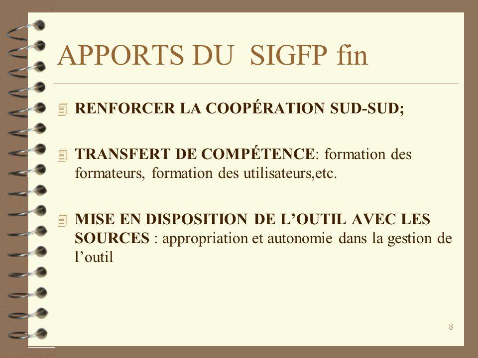 APPORTS DU SIGFP fin RENFORCER LA COOPÉRATION SUD-SUD;