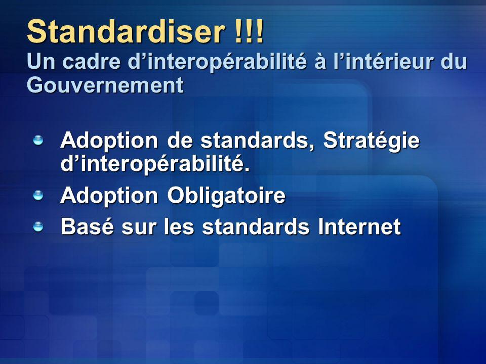 Standardiser !!! Un cadre d'interopérabilité à l'intérieur du Gouvernement