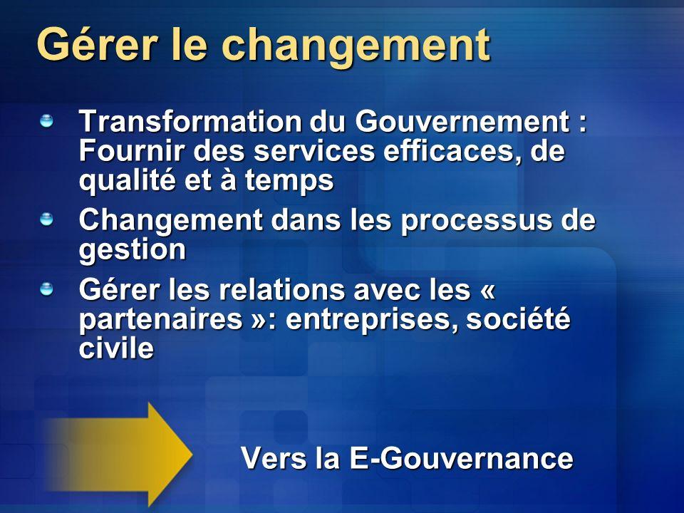 Gérer le changement Transformation du Gouvernement : Fournir des services efficaces, de qualité et à temps.