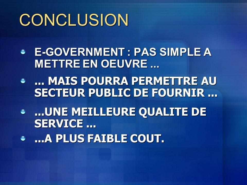 CONCLUSION E-GOVERNMENT : PAS SIMPLE A METTRE EN OEUVRE ...