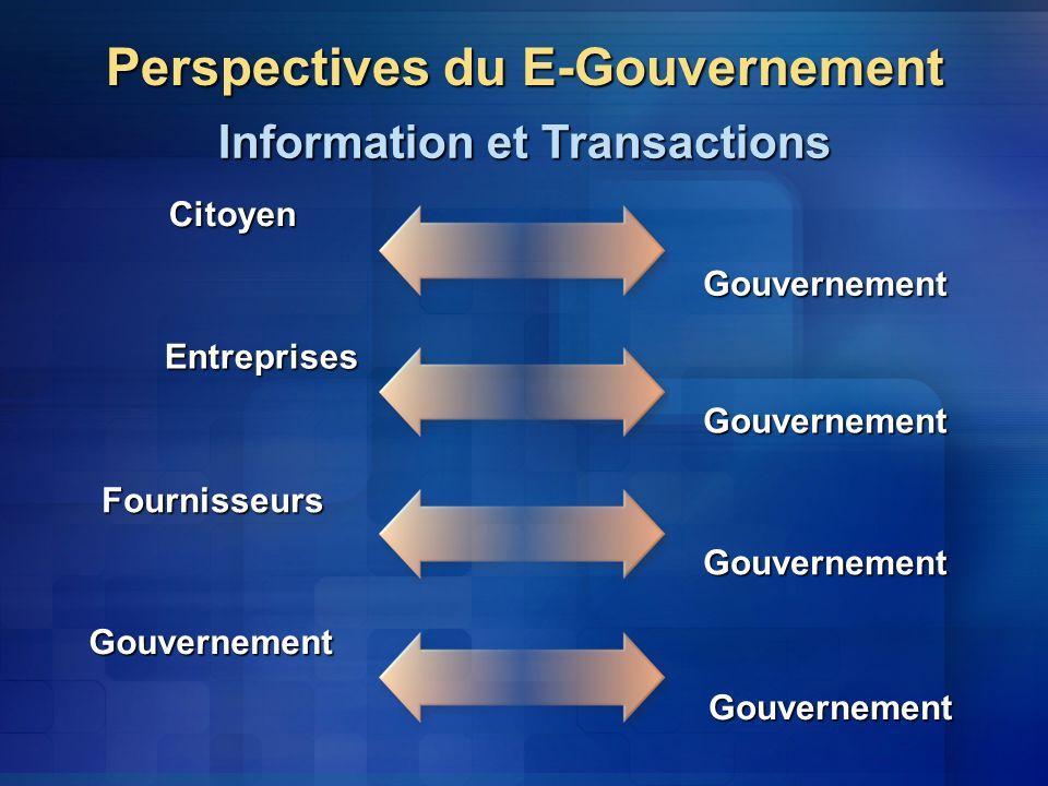 Perspectives du E-Gouvernement Information et Transactions