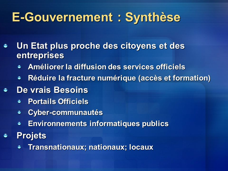 E-Gouvernement : Synthèse