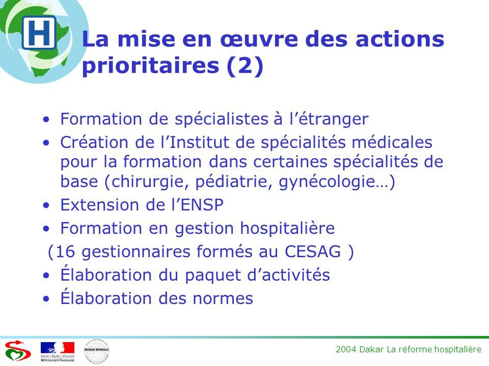 La mise en œuvre des actions prioritaires (2)