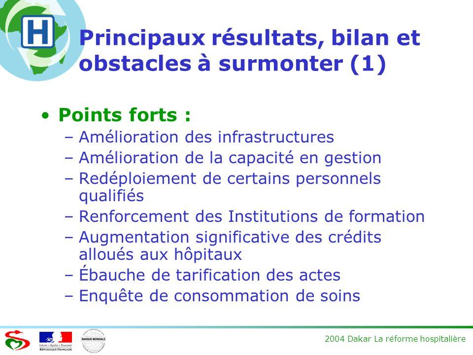 Principaux résultats, bilan et obstacles à surmonter (1)