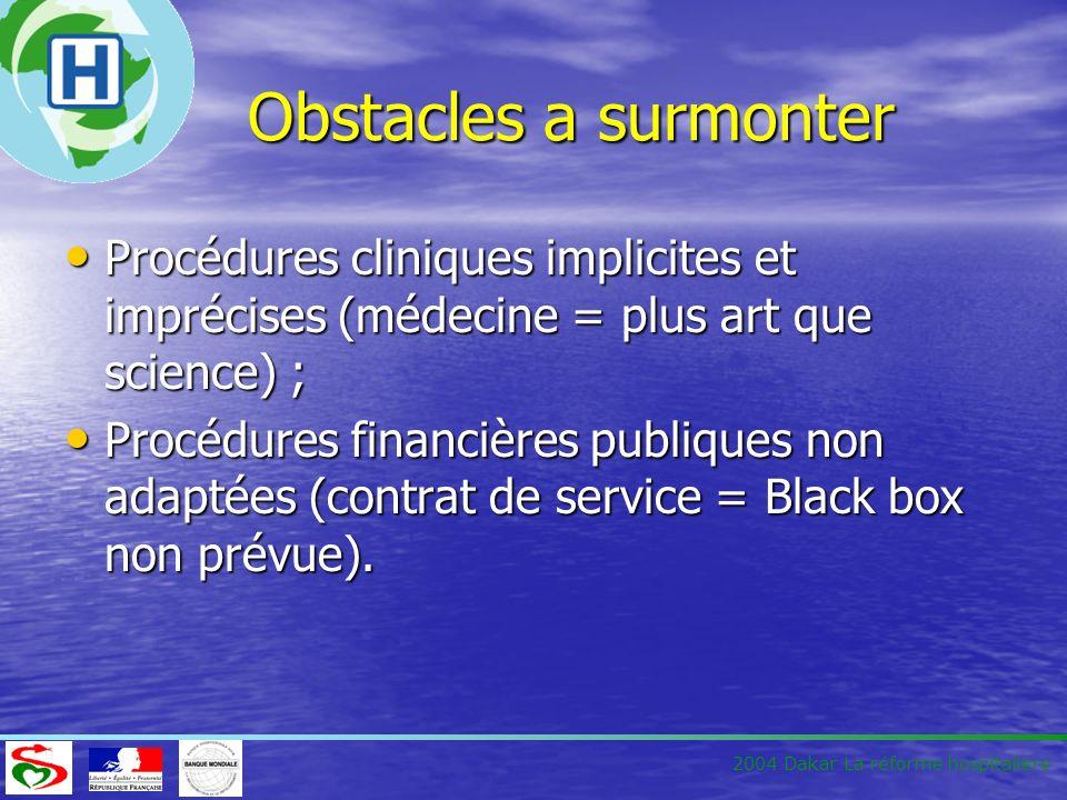 Obstacles a surmonter Procédures cliniques implicites et imprécises (médecine = plus art que science) ;