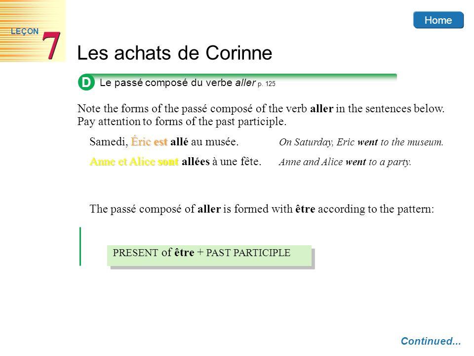 D Le passé composé du verbe aller p. 125.