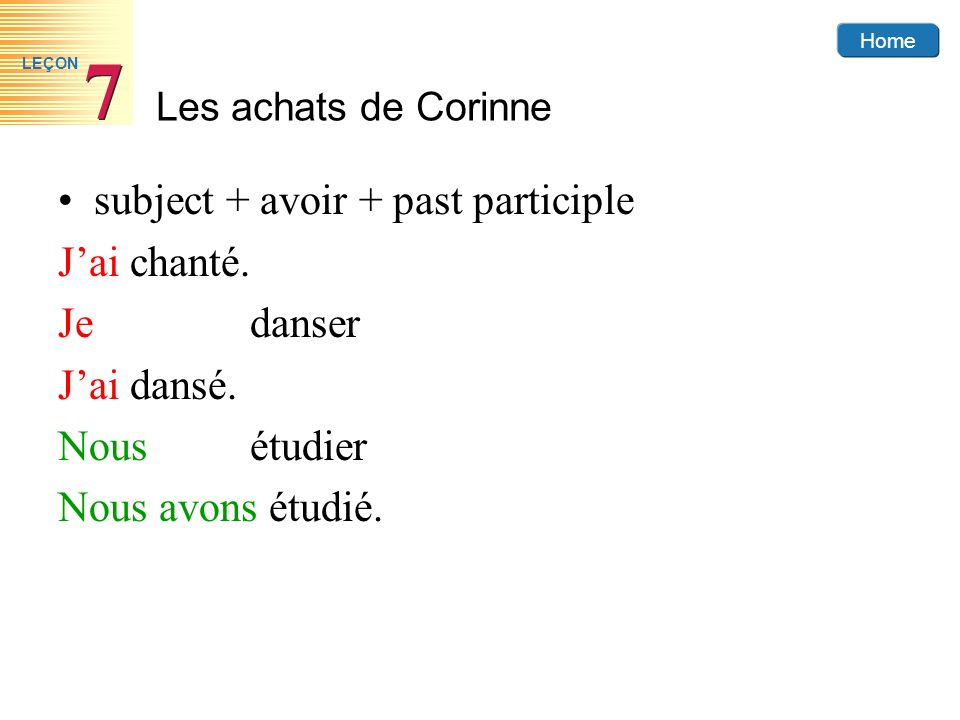 subject + avoir + past participle