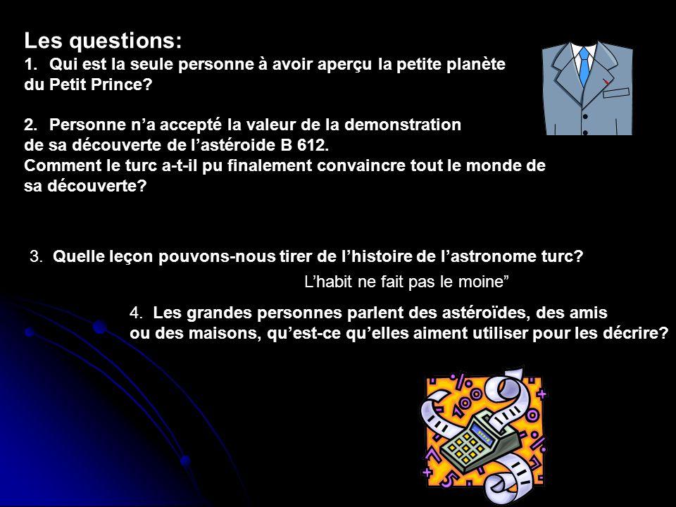 Les questions: Qui est la seule personne à avoir aperçu la petite planète. du Petit Prince Personne n'a accepté la valeur de la demonstration.