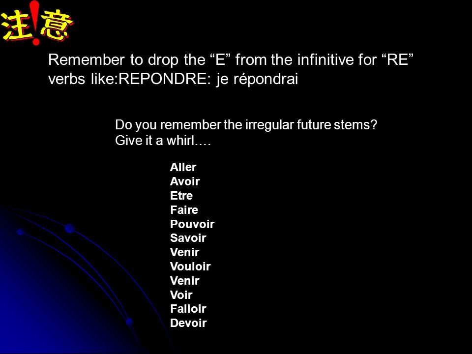 Remember to drop the E from the infinitive for RE verbs like:REPONDRE: je répondrai