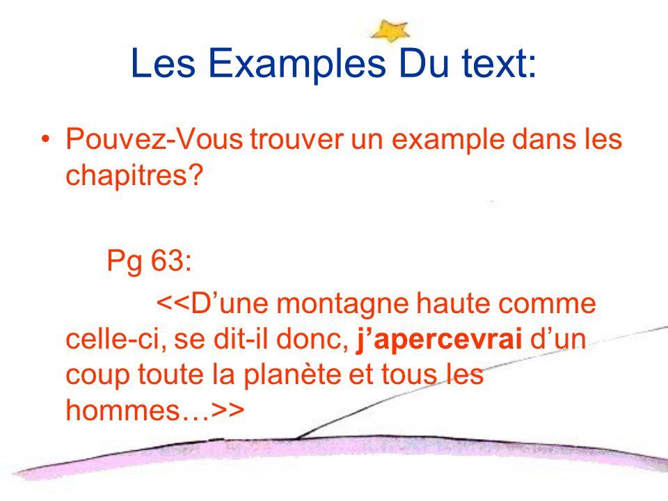 Les Examples Du text: Pouvez-Vous trouver un example dans les chapitres Pg 63: