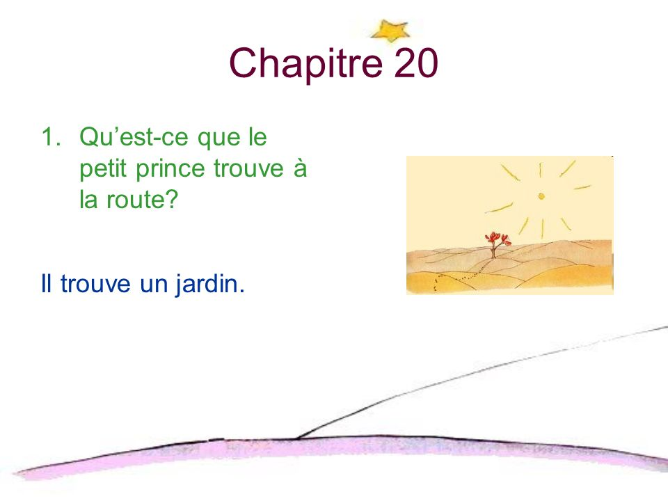 Chapitre 20 Qu'est-ce que le petit prince trouve à la route