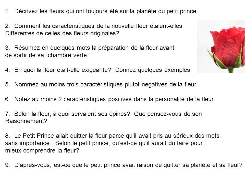 Décrivez les fleurs qui ont toujours été sur la planète du petit prince.