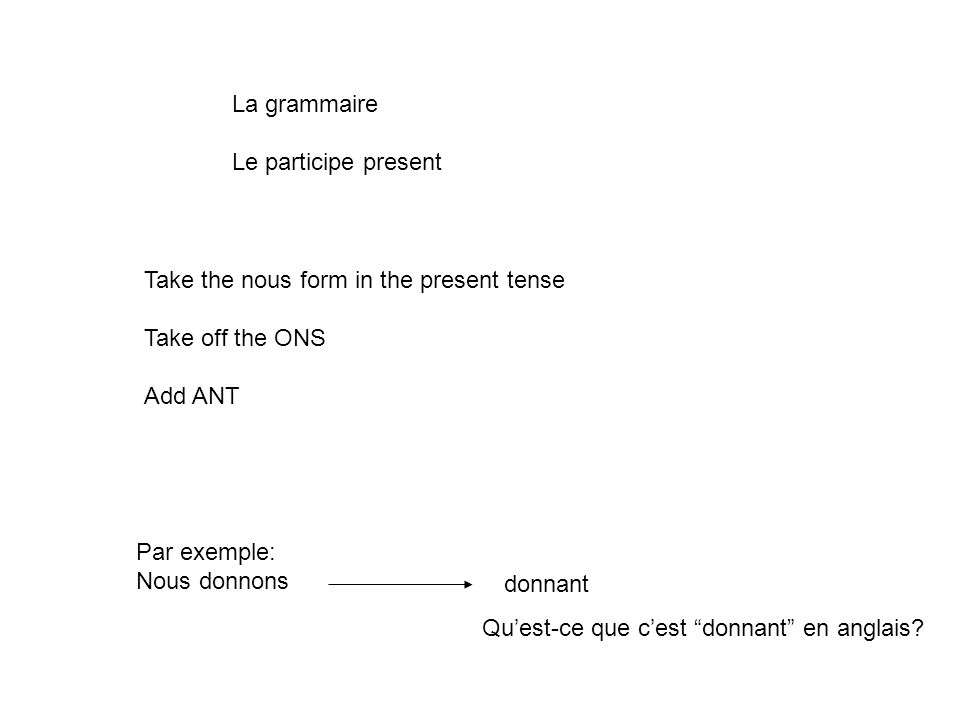 La grammaire Le participe present. Take the nous form in the present tense. Take off the ONS. Add ANT.
