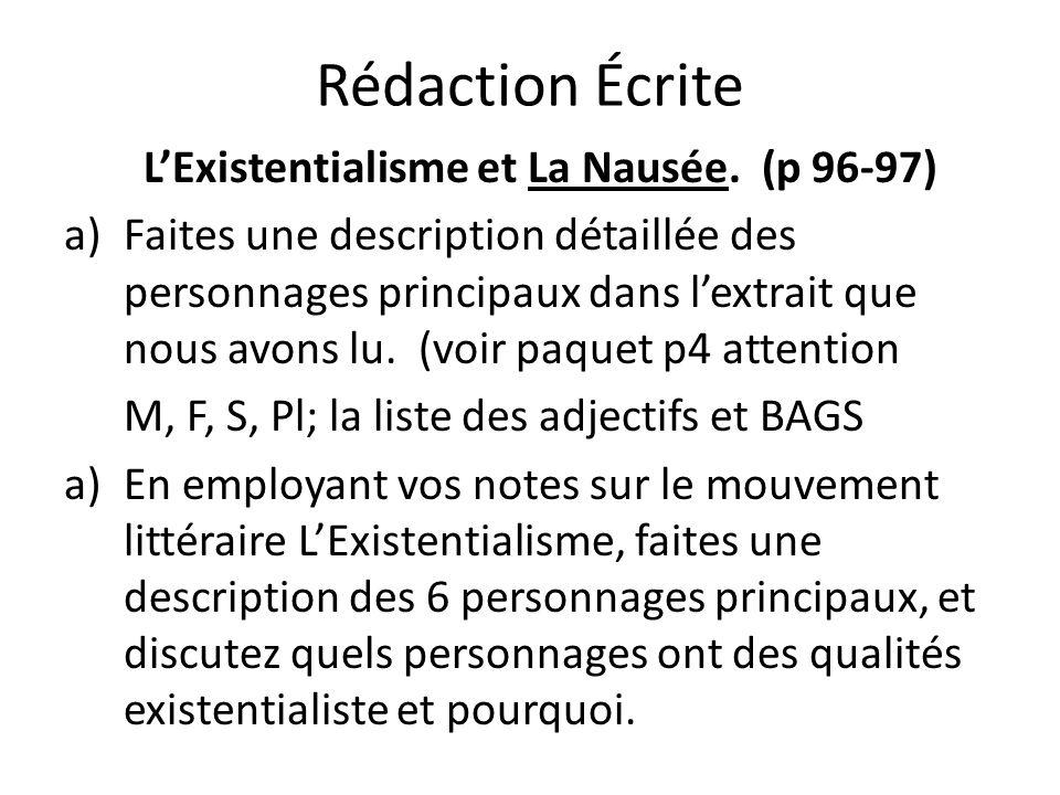 L'Existentialisme et La Nausée. (p 96-97)