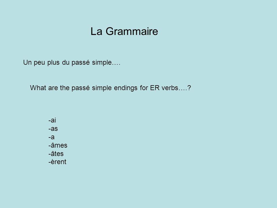 La Grammaire Un peu plus du passé simple….