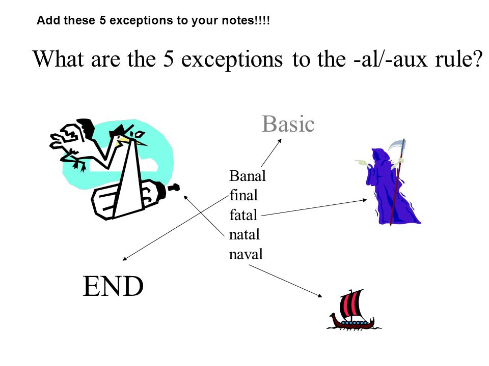 END What are the 5 exceptions to the -al/-aux rule Basic Banal final