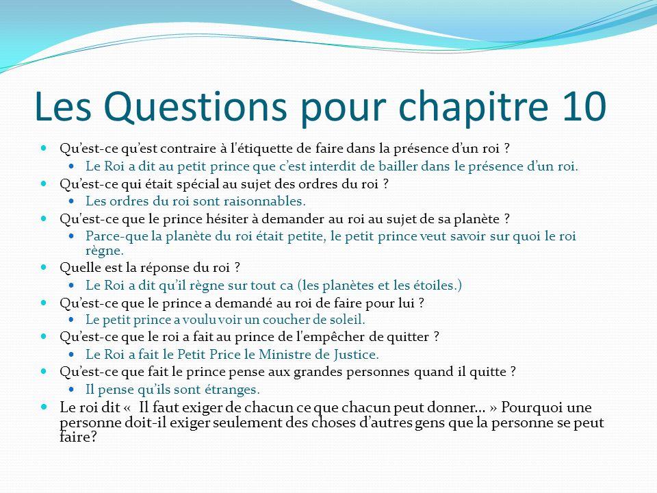 Les Questions pour chapitre 10