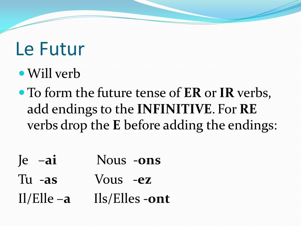 Le Futur Will verb. To form the future tense of ER or IR verbs, add endings to the INFINITIVE. For RE verbs drop the E before adding the endings: