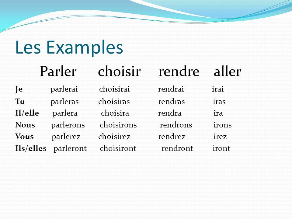 Les Examples Parler choisir rendre aller