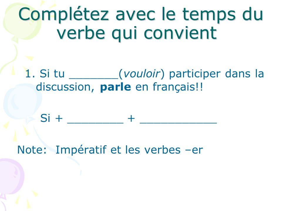 Complétez avec le temps du verbe qui convient