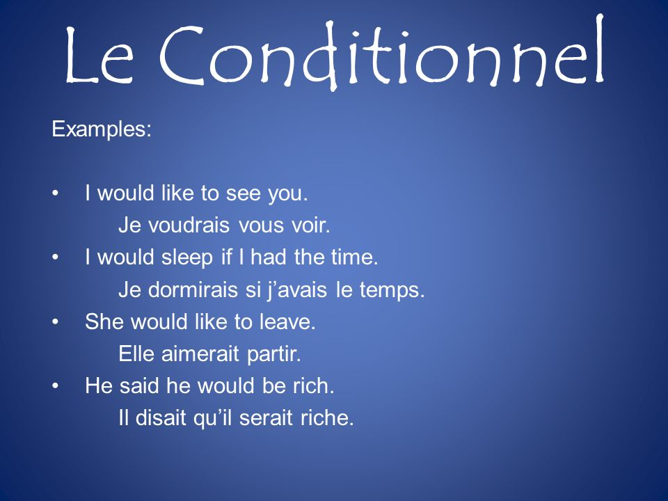 Le Conditionnel Examples: I would like to see you.