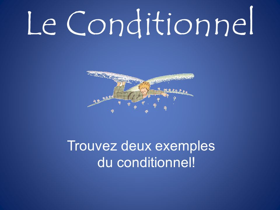 Trouvez deux exemples du conditionnel!