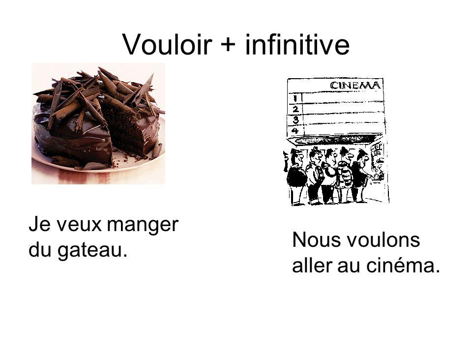 Vouloir + infinitive Je veux manger du gateau.