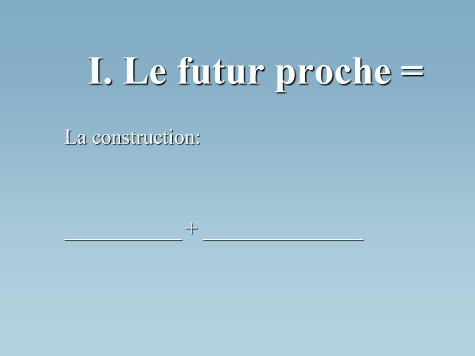 I. Le futur proche = La construction: ___________ + _______________