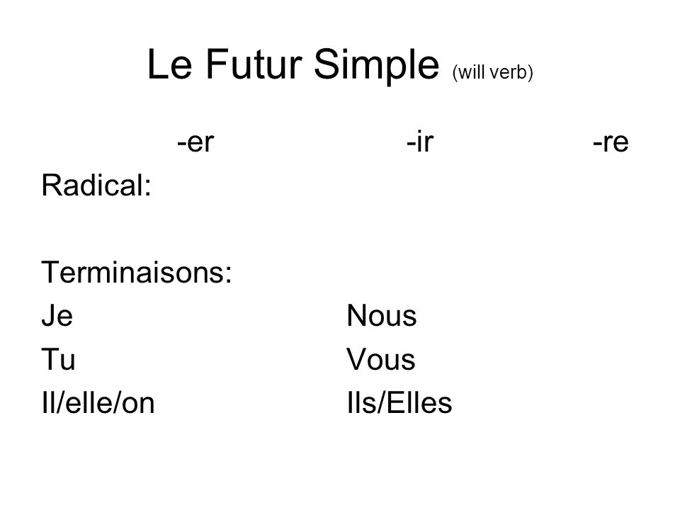 Le Futur Simple (will verb)