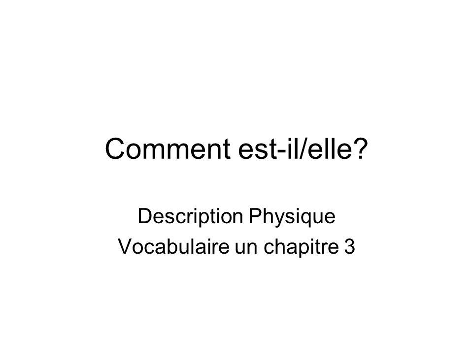 Description Physique Vocabulaire un chapitre 3